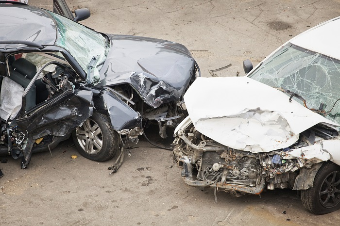 Totaled Cars After Massive Crash